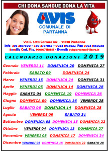 Calendario donazioni avis @ Partanna