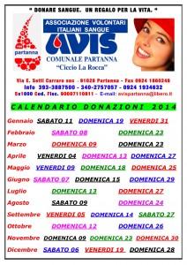 Calendario delle donazioni Avis di Partanna anno 2014 @ Via E. Setti Carraro - Partanna